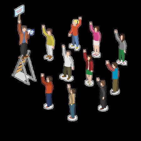 People waiting for volunteering work Illustration