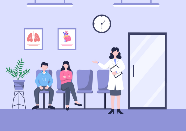 People waiting to visit doctor Illustration