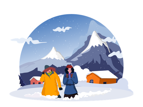 People walking in snow Illustration