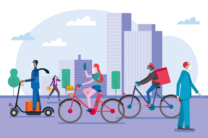 People walking, riding bicycle and scooter, wearing masks in the city to protect themselves from viruses Illustration