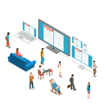 People watching News broadcast Illustration