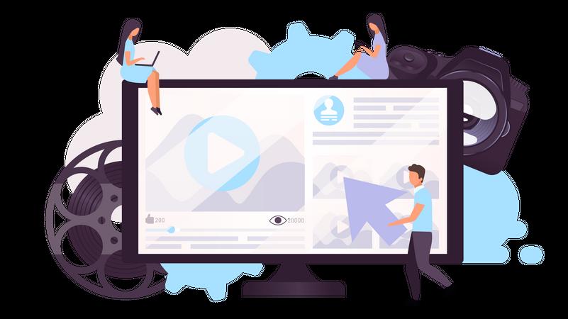People watching video on online platform Illustration