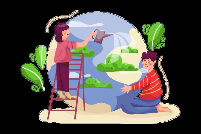 People watering tree Illustration