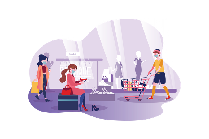 People wearing mask and shopping in the mall Illustration