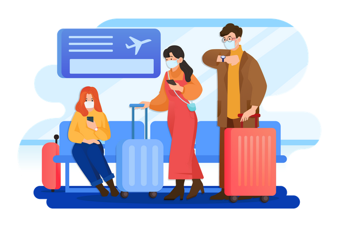 People wearing mask and travelling from the plane Illustration