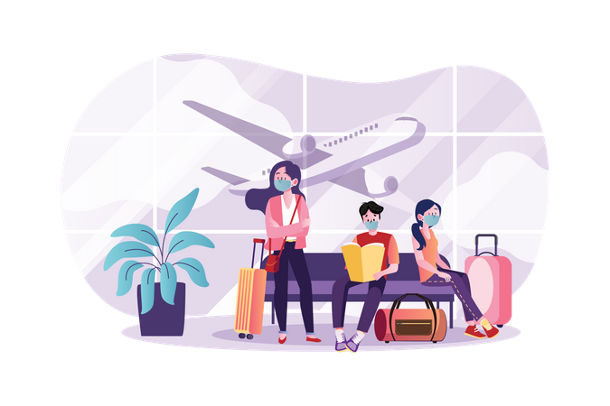 People wearing mask at the airport Illustration
