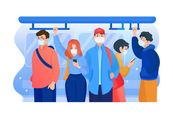 People wearing mask in the subway Illustration