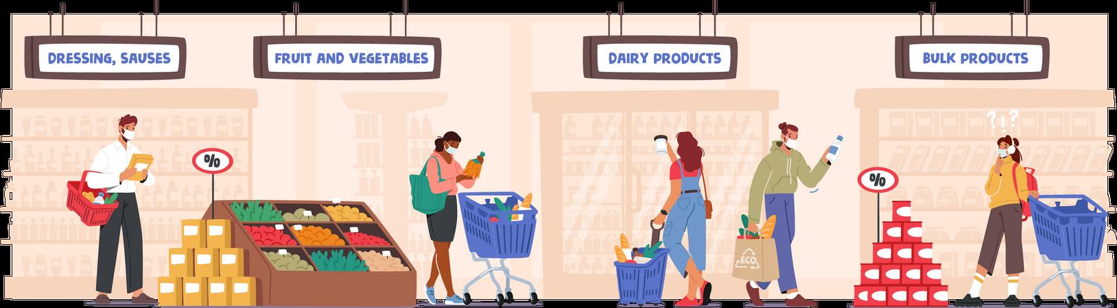 People wearing mask shopping at supermarket buying products Illustration