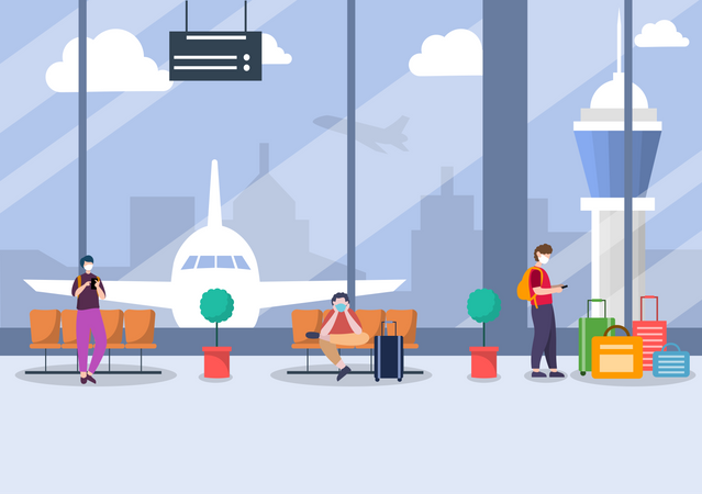 People Wearing Mask While Waiting at the Airport Illustration