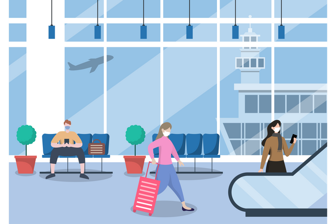 People Wearing Masks Standing at the Airport Illustration