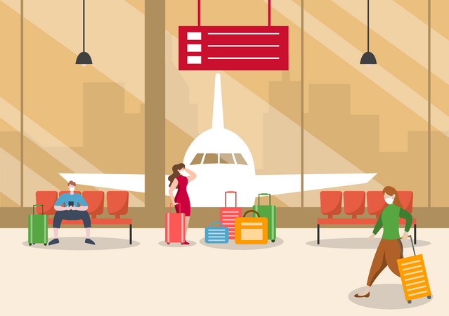 People Wearing Masks While Waiting at the Airport Illustration