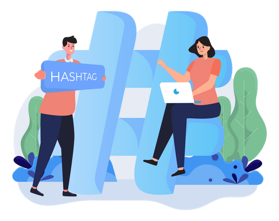 People with hashtag sign Illustration