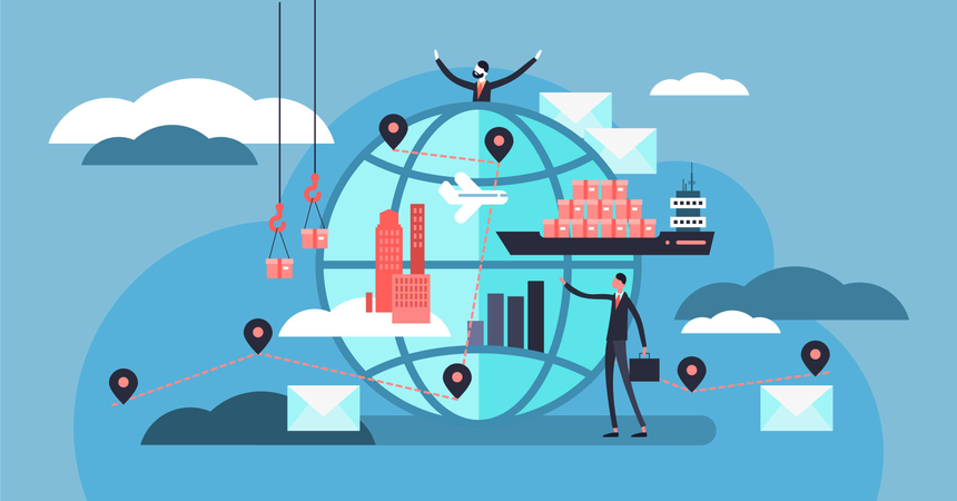 People with shipment business concept Illustration