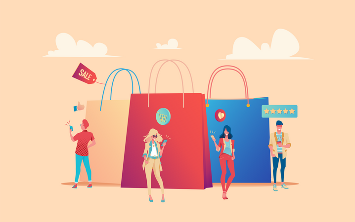 People with shopping bags Illustration