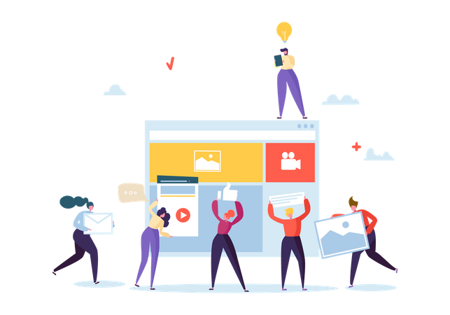 People With Team Work Creating Web Page Illustration