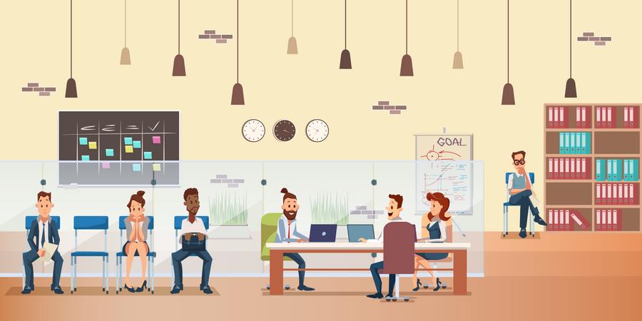 People Work on Desk at Office Illustration