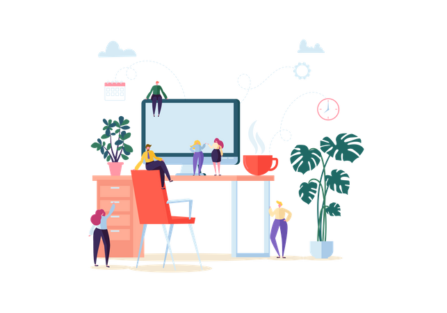 People Working in Office with Computer and Plants Illustration