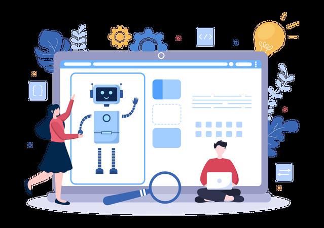 People Working on AI Tech Development Illustration