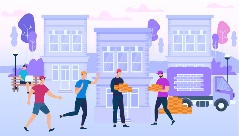 People Working Together to Build New House connecting with social life Illustration