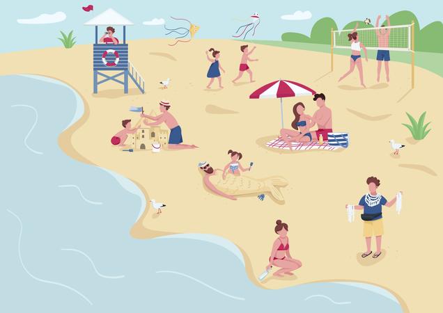 Peoples on beach Illustration
