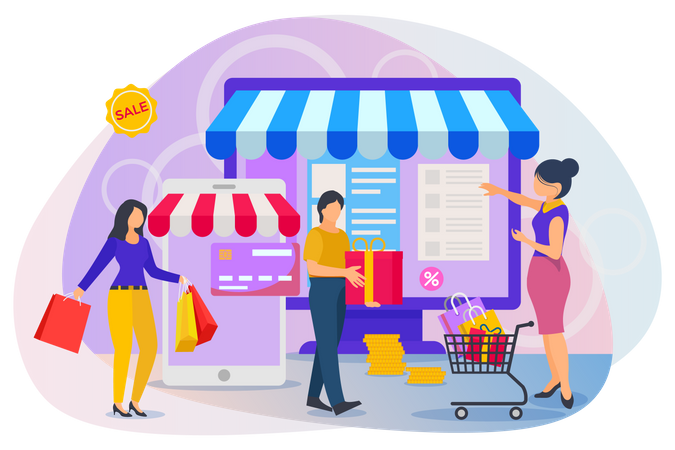 Peoples selecting items and making payment on online shopping website Illustration