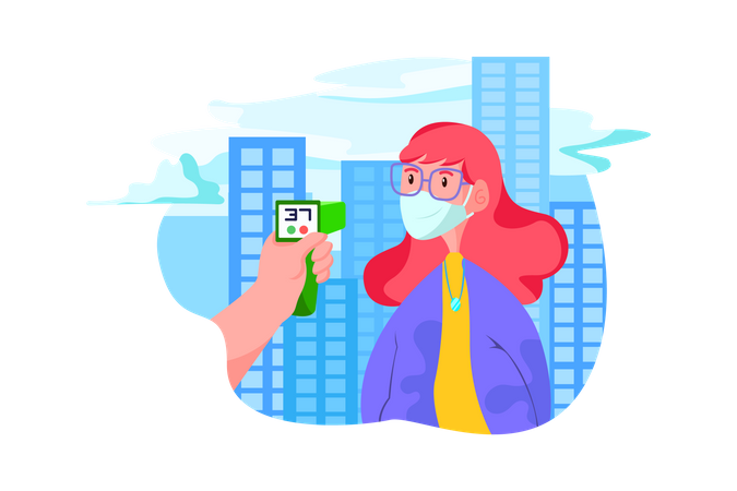 Person checking the temperature in the office Illustration