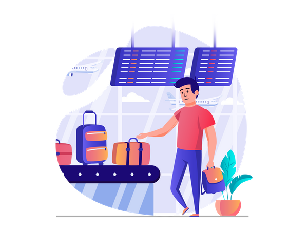 Person collecting luggage at terminal Illustration