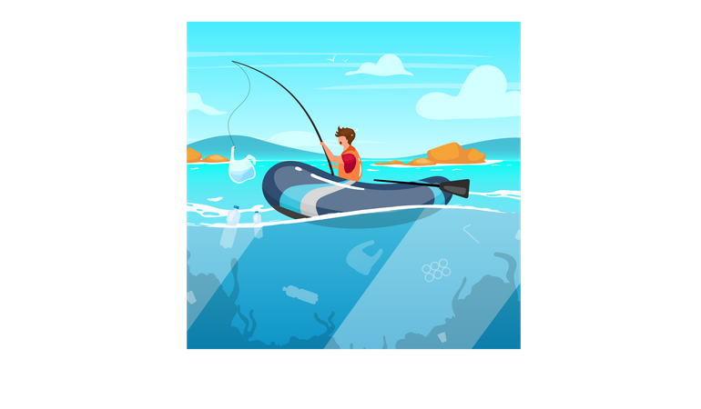 Person fishing in sea full of garbage Illustration
