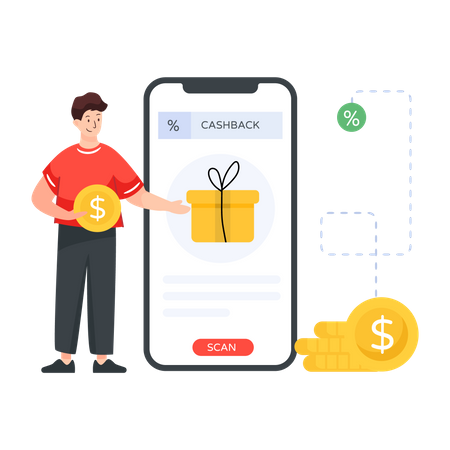 Person getting cashback on purchase Illustration