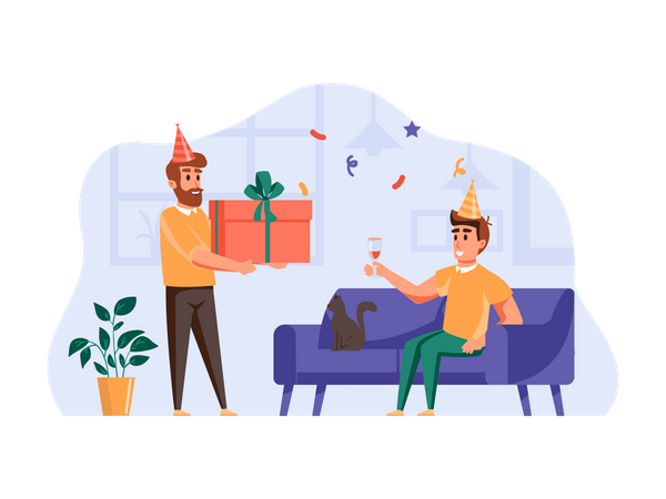 Person giving birthday gift to friend Illustration