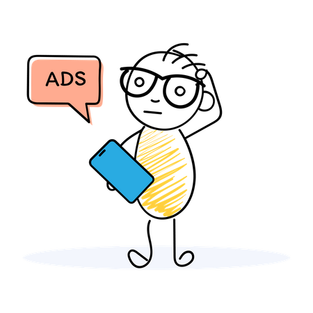 Person got confused why ads are flashing up Illustration