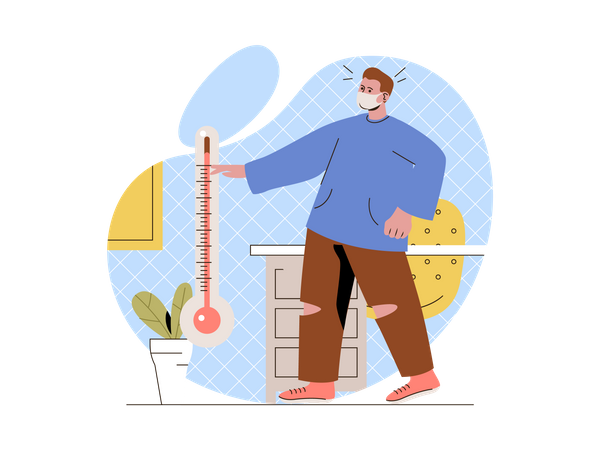Person having fever checking temperature using thermometer Illustration