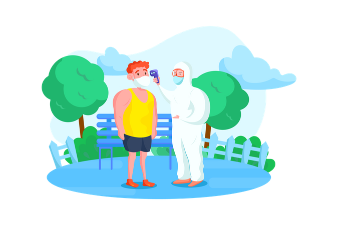 Person in hazmat suit checking the temperature of people in park Illustration
