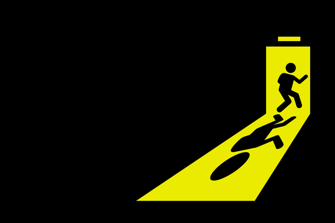 Person leaving dark room to go outside through exit door with bright yellow light casting strong shadow on the floor Illustration