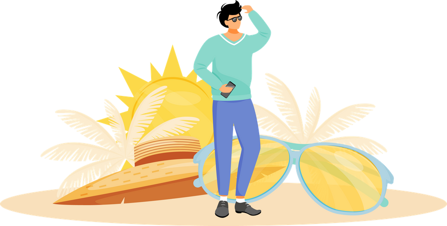 Person on sunny day Illustration