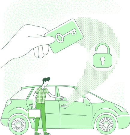 Person opening car with electronic key Illustration