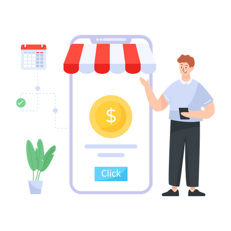Person paying online through smartphone app Illustration