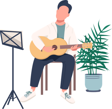 Person playing guitar Illustration