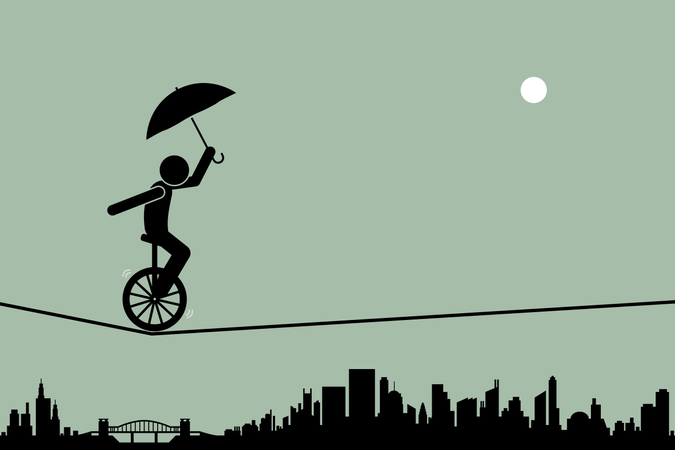 Person riding a unicycle and balancing it with an umbrella going through a tightrope rope with cityscape silhouette at the background Illustration