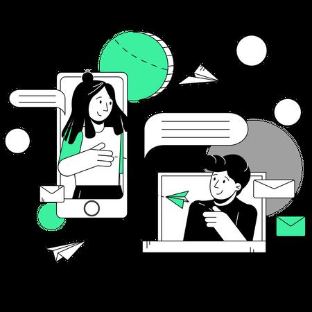 Person to person Digital marketing Illustration