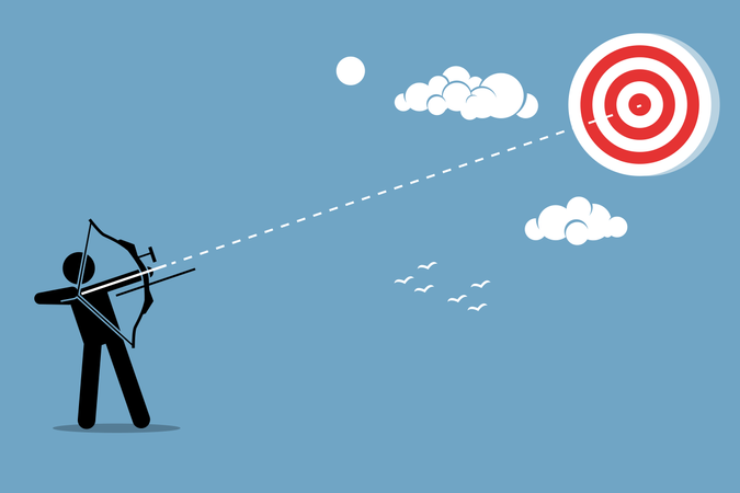 Person using a bow to aim and shoot an arrow to a target in the sky Illustration