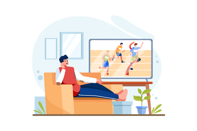 Person watching sports on television Illustration