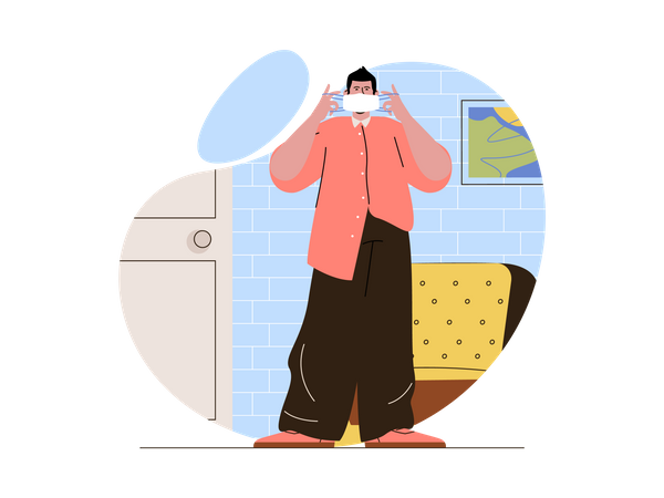 Person wearing mask at home Illustration