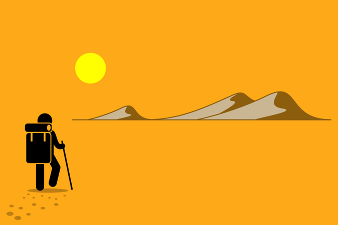 Person with backpack and stick walking in the desert under the hot sun searching for adventure Illustration