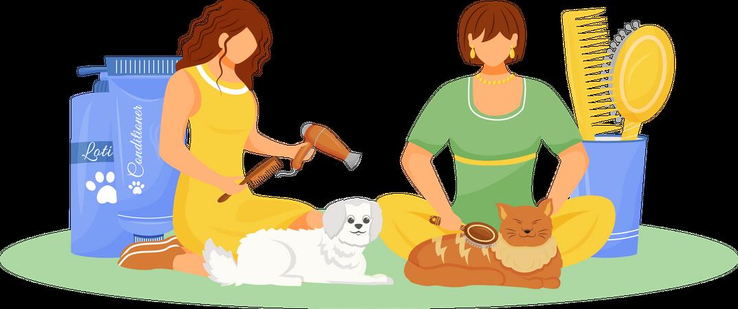 Pet grooming Illustration