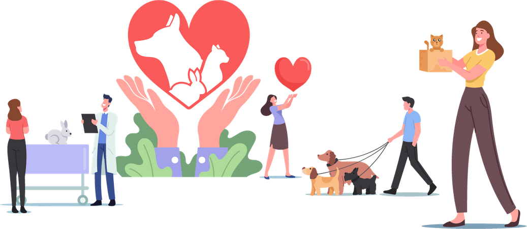 Pets Rescue and Protection Illustration