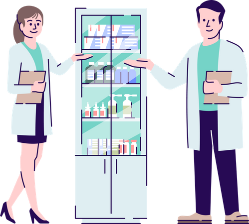 Pharmacists colleagues Illustration