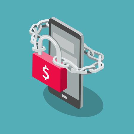 Phone ransomware attack symbol Illustration