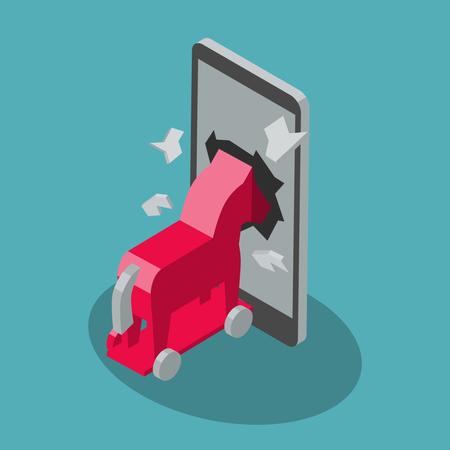 Phone trojan horse adware attack symbol Illustration