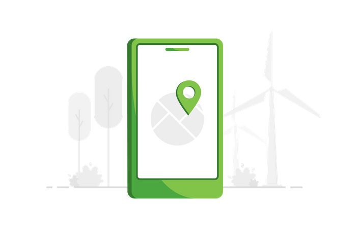 Phone with GPS Illustration
